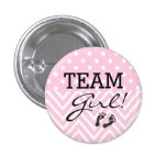 Team Girl Baby Shower Pink Button