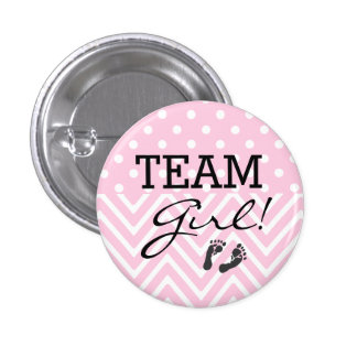 Team Girl Baby Shower Pink Button