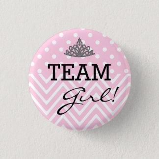 Team Girl Baby Shower Polka Dot Chevron Pinback Button