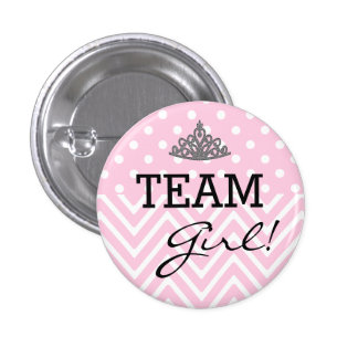 Team Girl Baby Shower Polka Dot Chevron Pinback Button