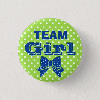 Team Girl Blue With Green Polka Dots Baby Shower Button