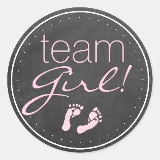 Team Girl Chalkboard Baby Gender Reveal Round Sticker