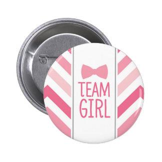Team Girl Chevron Button - Gender Reveal Party
