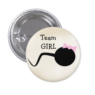 Team Girl Funny Gender Reveal Party Button