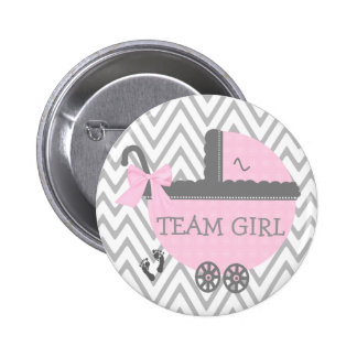 Team Girl Grey Chevron Pink Carriage Baby Shower Pinback Button