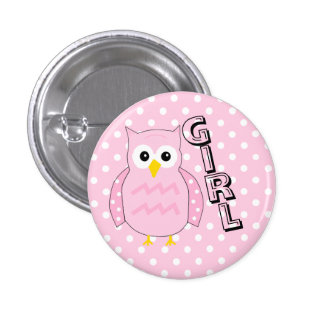 Team Girl Owl Baby Shower Game Pinback Button