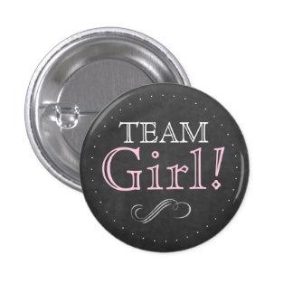 Team Girl Pink Chalkboard Baby Shower Pinback Button