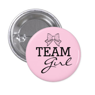 Team Girl Pink Gender Reveal Game Baby Shower Pinback Button