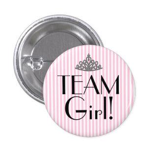 Team Girl Stripes Pink Baby Shower 1 Inch Round Button