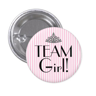 Team Girl Stripes Pink Baby Shower Button