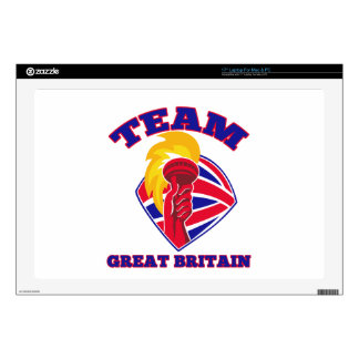 team great britain gb hand hold flaming torch brit decals for laptops