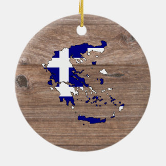 Team Greece Flag Map on Wood Double-Sided Ceramic Round Christmas Ornament