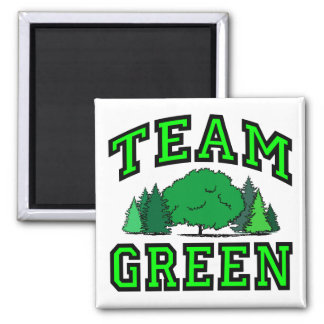 Team Green 2 Inch Square Magnet