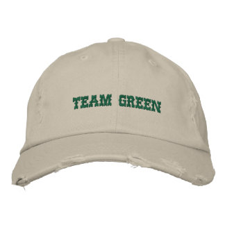 TEAM GREEN EMBROIDERED BASEBALL HAT