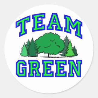 Team Green V Classic Round Sticker
