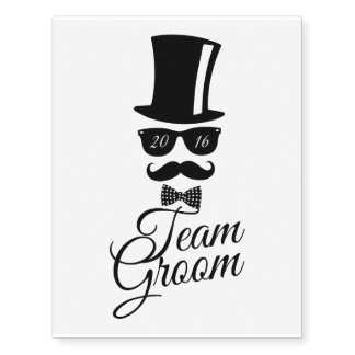 Team Groom 2016 Temporary Tattoos