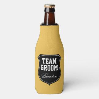 Team Groom and Bride wedding party bottle coolers Bottle Cooler
