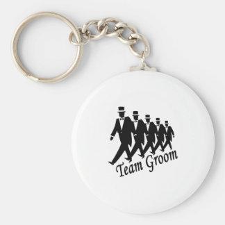 Team Groom Basic Round Button Keychain