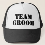 "TEAM GROOM black bachelor party trucker hats<br><div class=""desc"">TEAM BRIDE black bachelor and bachelorette party trucker hats. Cool wedding accessories and party supplies for groom, best man, groomsmen, bride and bride&#39;s entourage. Custom caps with vintage typography template for party crew. Make your own hats for bridesman, bridesmaids, maid of honor, friends, sister, brother etc. Cool prop for boys...</div>"