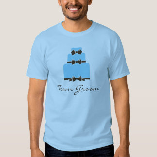 TEAM GROOM Blue and Brown Wedding Cake T-Shirt