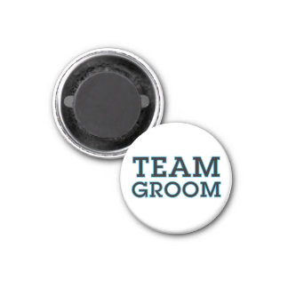 Team Groom Blue Outline 1 Inch Round Magnet
