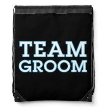 Team Groom Blue Outline Black Drawstring Bag