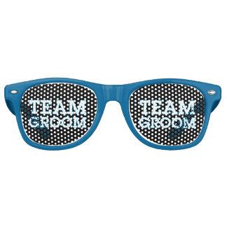 Team Groom Blue Outline Black Retro Sunglasses