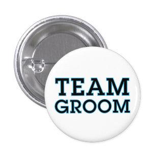 Team Groom Blue Outline 1 Inch Round Button
