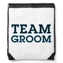 Team Groom Blue Outline Drawstring Backpack
