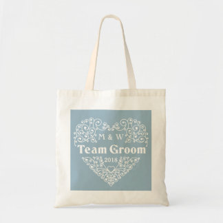 Team Groom custom monograms & year tote bags