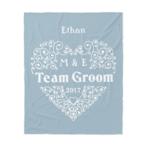Team Groom custom monograms & year wedding blanket