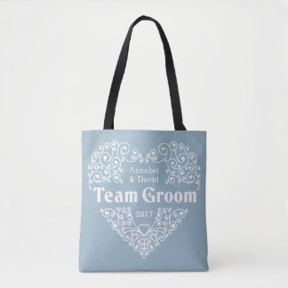 Team Groom custom names & year wedding bags