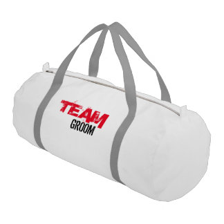Team Groom Duffle Gym Bag, White with Silver strap Gym Bag