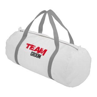 Team Groom Duffle Gym Bag, White with Silver strap Gym Bag