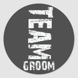 Team Groom Extra Large Grunge Text Classic Round Sticker