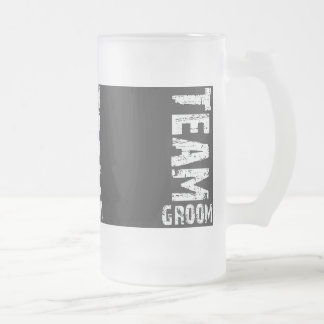 Team Groom Extra Large Grunge Text Frosted Glass Beer Mug