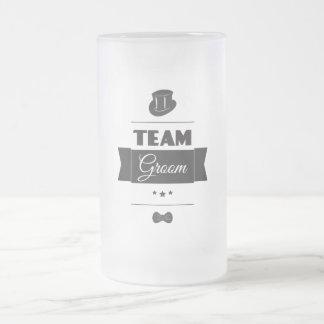 Team groom frosted glass beer mug