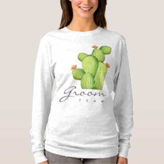 TEAM GROOM GREEN WATERCOLOUR DESERT CACTUS FLOWER T-Shirt