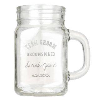 Team Groom Groomsmaid Wedding Mason Jar