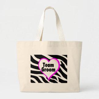 Team Groom (Heart Zebra Print) Large Tote Bag