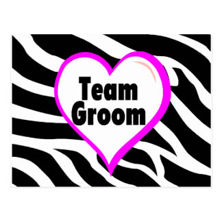 Team Groom (Heart Zebra Print) Postcard