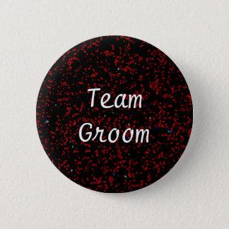 Team Groom Modern Fractal Art Black Red Patterns Pinback Button