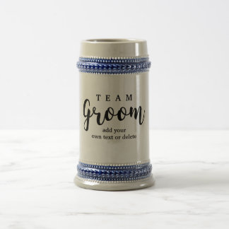 Team Groom Modern Wedding Favors for Groomsmen Beer Stein