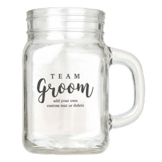 Team Groom Modern Wedding Favors for Groomsmen Mason Jar