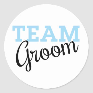 Team Groom Script Classic Round Sticker