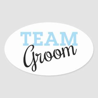 Team Groom Script Oval Sticker