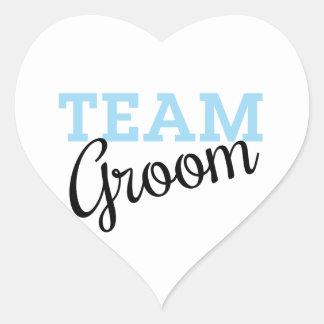 Team Groom Script Heart Sticker