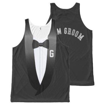Beach Themed Team Groom Tuxedo Beach Wedding Tank