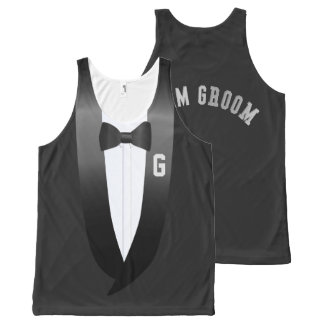 Team Groom Tuxedo Beach Wedding Tank All-Over Print Tank Top