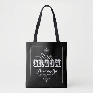 TEAM GROOM Typography Wedding Party Tote (black)